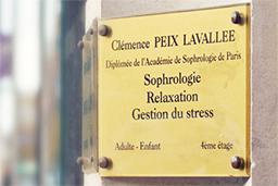 Plaque Cabinet de sophrologie, de méditation, de cohérence cardiaque. Stress, sommeil, insomnie, concentration, QVT, burn out, Bac, concours, examens, grossesse sur BienRelax.com